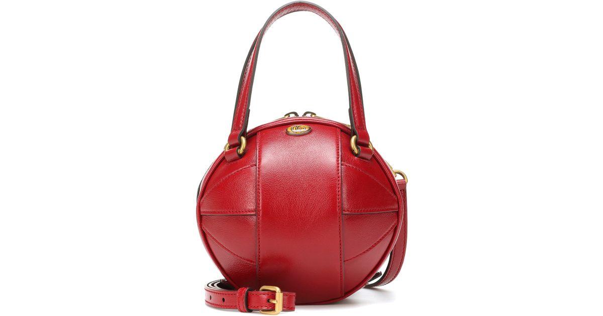 f34387e4e214 Lyst - Gucci Tifosa Mini Leather Tote in Red