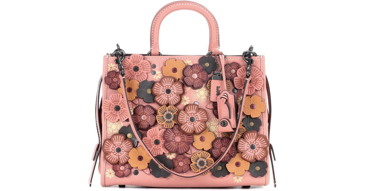 COACH Rogue Floral Leather Tote in Pink - Lyst