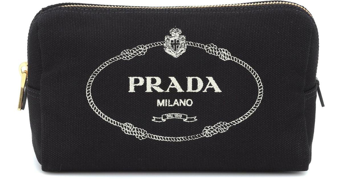 5ccff9dd4c11 Prada Logo Canvas Cosmetics Case in Black - Lyst