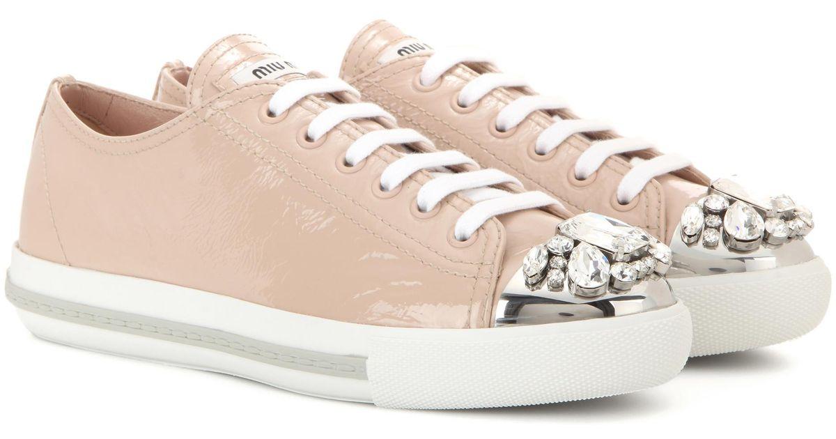 Miu Miu Embellished leather sneakers Ysens