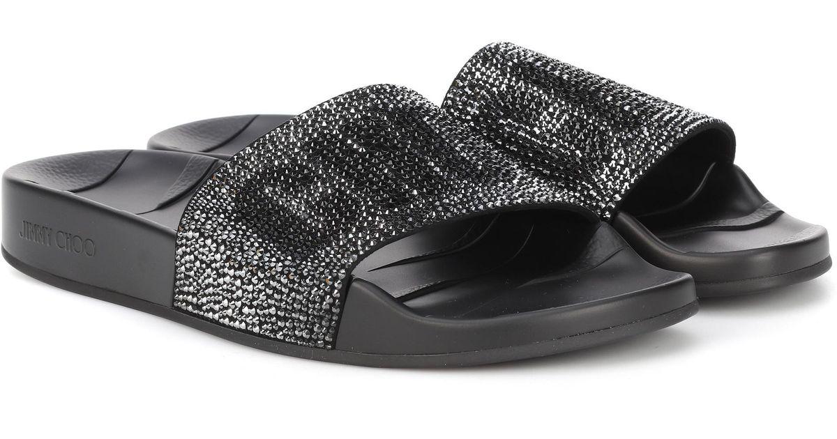 3b2dabd0505 Lyst - Jimmy Choo Rey Crystal-embellished Slides in Black