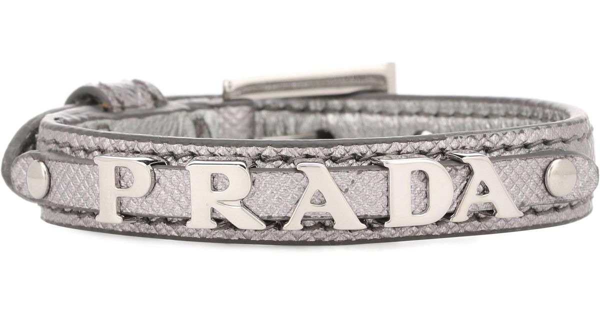 Prada Metallic leather logo bracelet FGBknFbc
