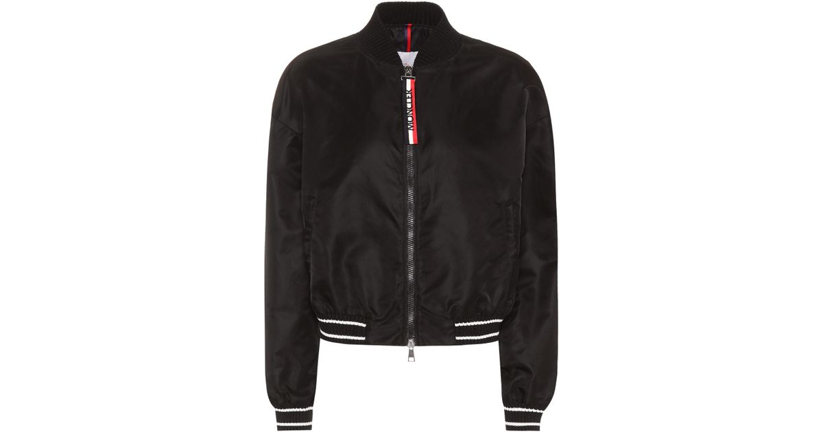 ff5df0a64bb1 Lyst - Moncler Actinote Satin Bomber Jacket in Black