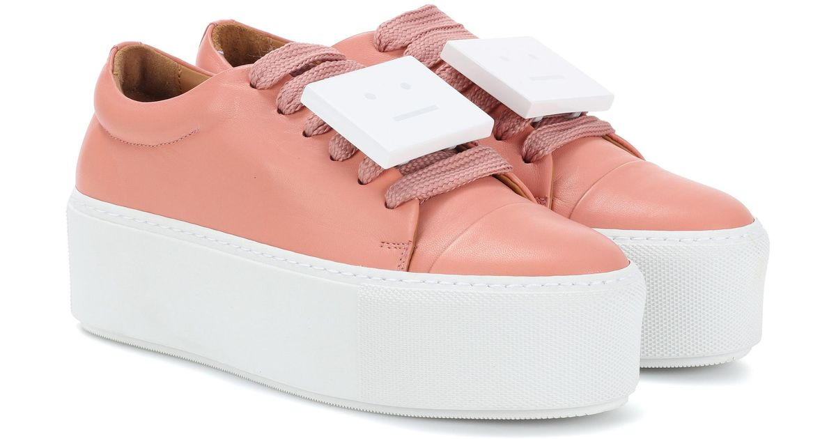 Drihanna Plaque-detailed Leather Platform Sneakers - Pastel pink Acne Studios
