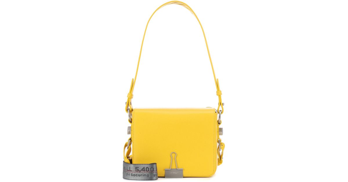 0cc312bc6eec Lyst - Off-White c o Virgil Abloh Binder Clip Leather Shoulder Bag in Yellow