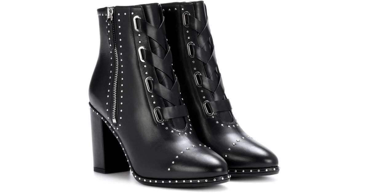 dcf750204ab549 Lyst - Aquazzura Guns   Roses 85 Leather Ankle Boots in Black
