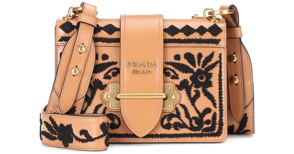 6ac454ad8886 ... uk lyst prada cahier leather shoulder bag in brown 5ff0d ac6fd