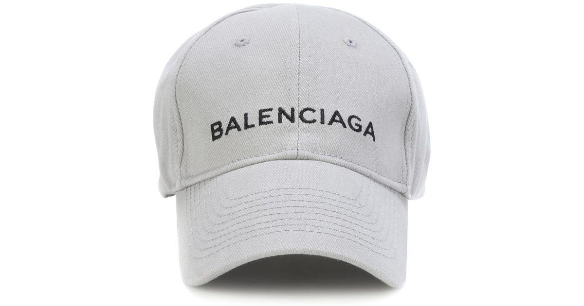 2c252cdd49b Balenciaga Embroidered Cotton Baseball Cap in Gray - Lyst