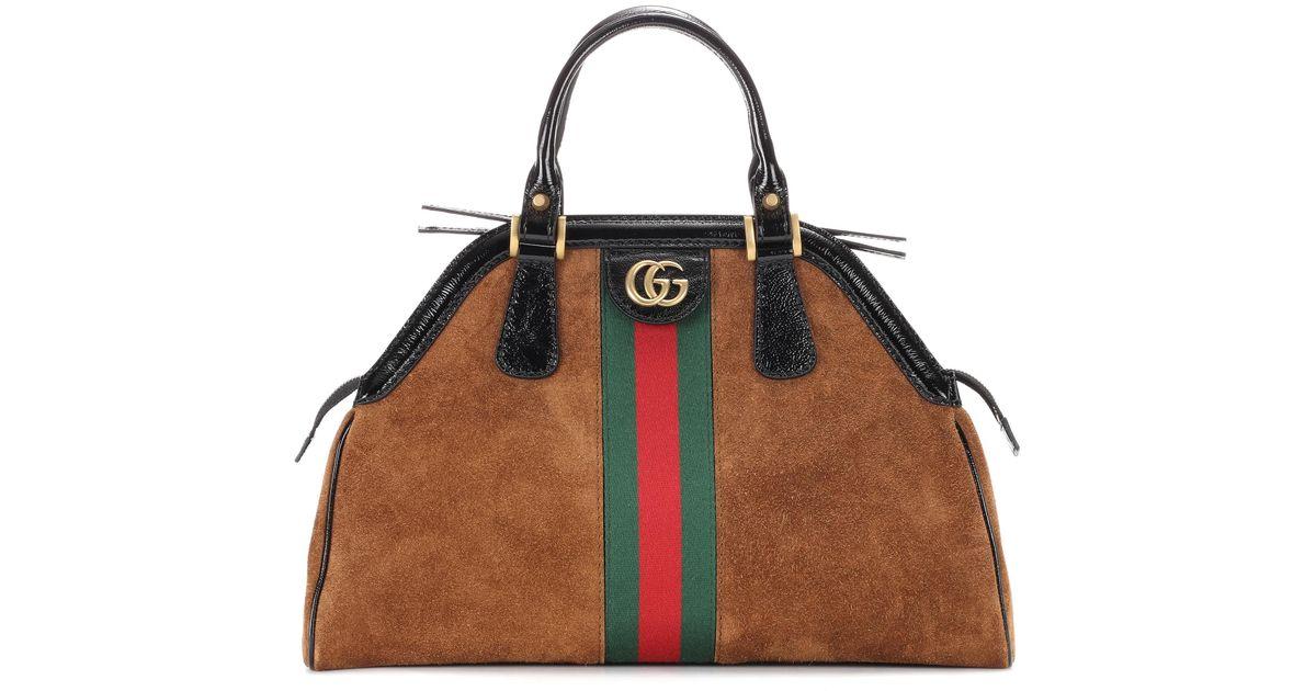 4885c797d189aa Gucci Re(belle) Web Stripe Suede Cross Body Bag in Brown - Lyst