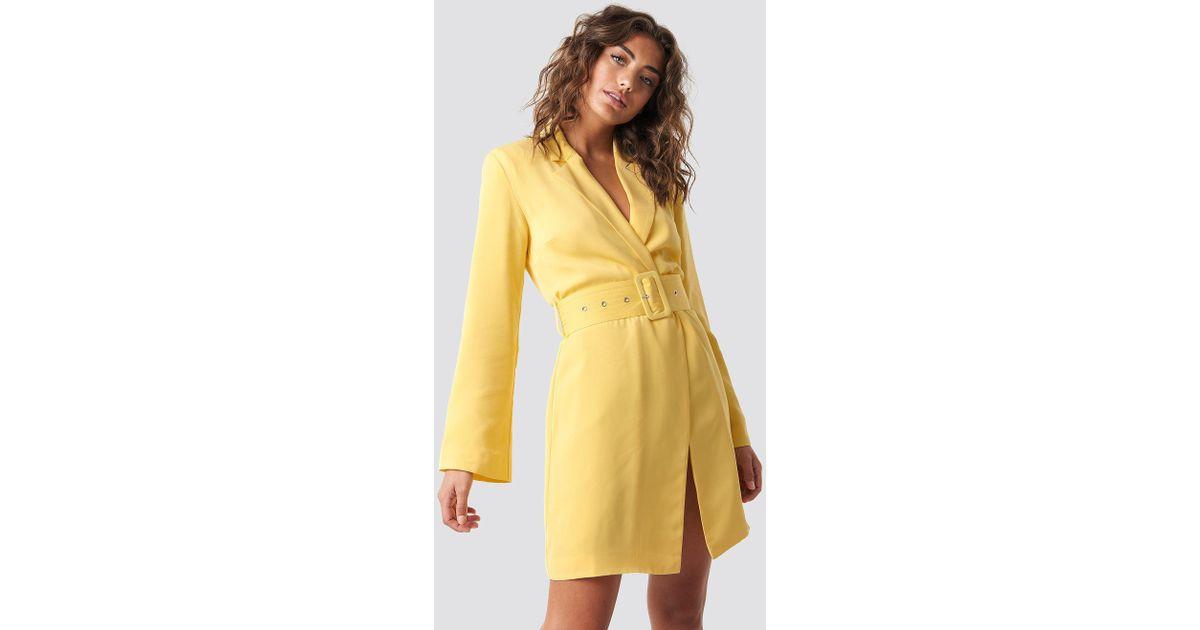 cde62ae124a5 NA-KD Blazer Dress Yellow in Yellow - Lyst
