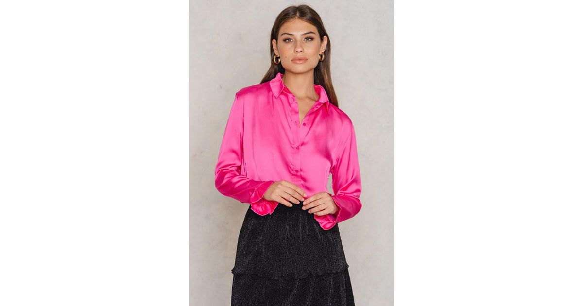 eb0789e9f NA-KD Satin Shirt Pink in Pink - Lyst