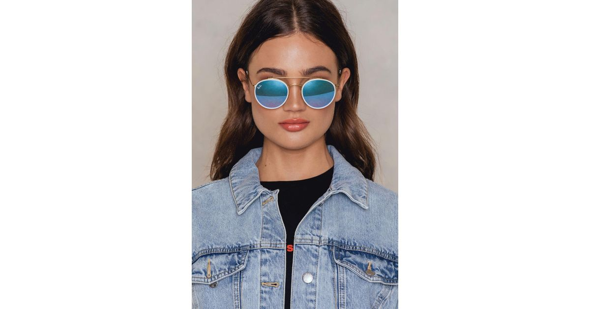 4882761bc1900 Ray-Ban Round Double Bridge in Blue - Lyst