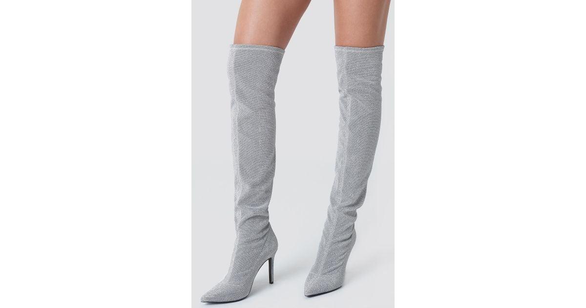 sports shoes 8e51a 89a19 Lyst - NA-KD Lurex Overknee Boots Silver Glitter in Metallic