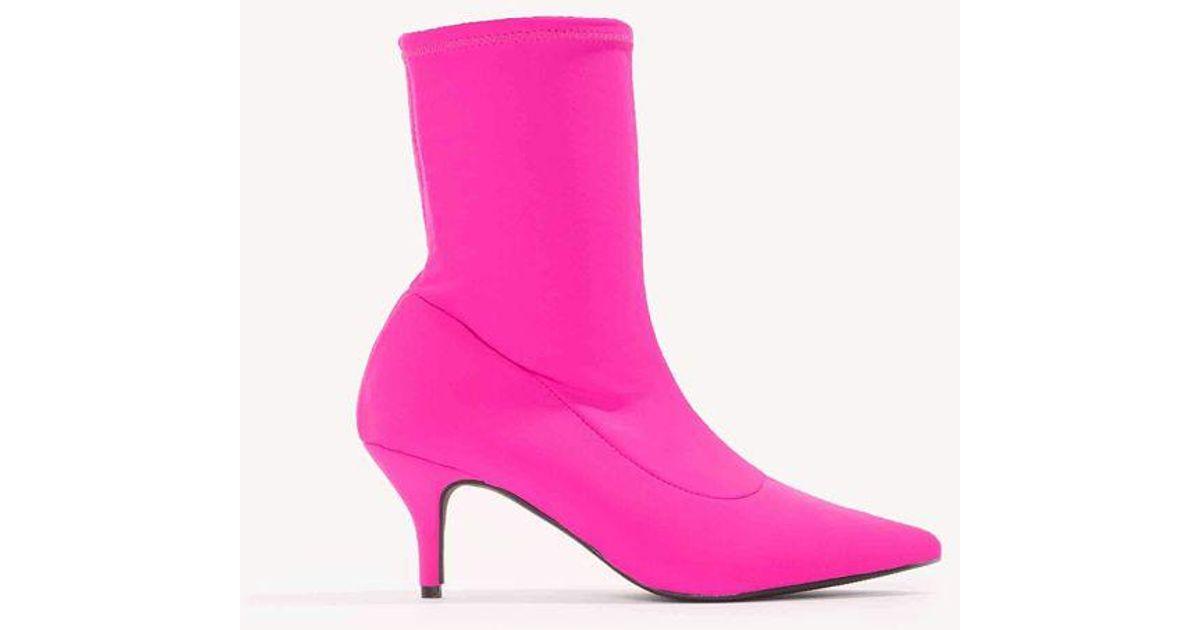 NA-KD Shoes Kitten Heel Sock Boot - Pink Elegant Talons féminins Printemps Eté Automne Hiver Confort Nouveauté Pente de soie avec fête de mariage et soirée Stiletto   40 FYKTt