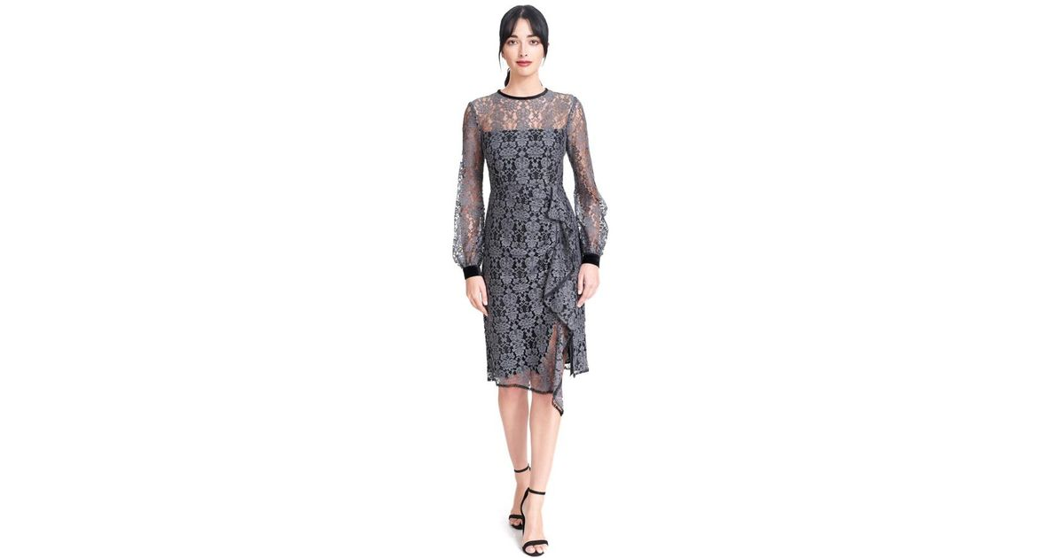 6a5992aa Nanette Lepore Amelia Lace Dress in Gray - Lyst