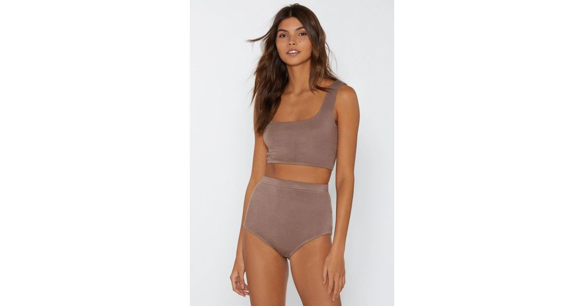 d983502b31 Lyst - Nasty Gal Never Two Part Bra Top And Panty Shorts Set in Brown