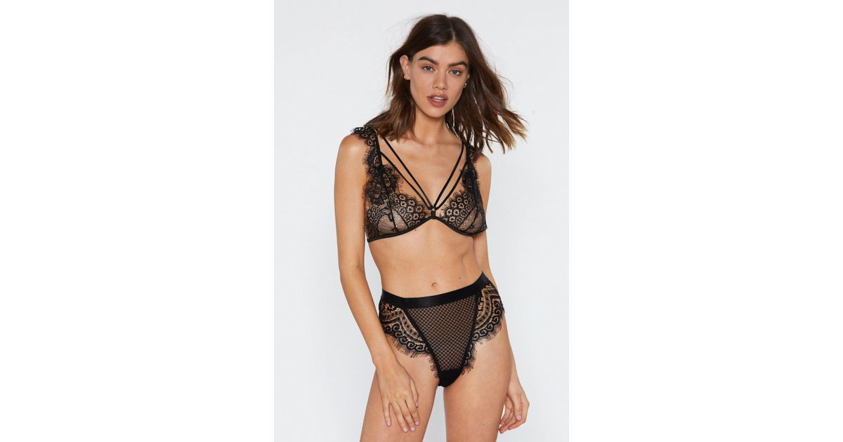 2b58ac06ce9 Lyst - Nasty Gal God Is A Woman Strappy Lace Bralette And Panty Set in Black