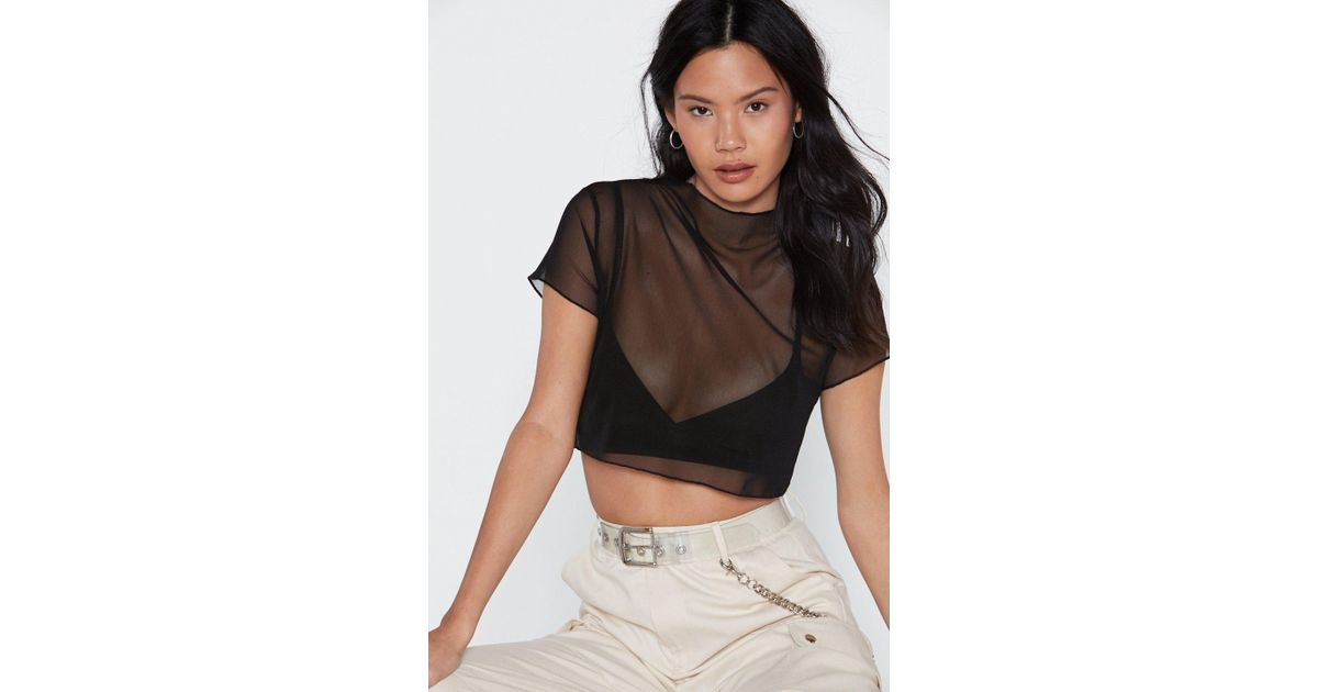 6f715e45a62c5 Nasty Gal Glad To Sheer It Mesh Crop Top in Black - Lyst