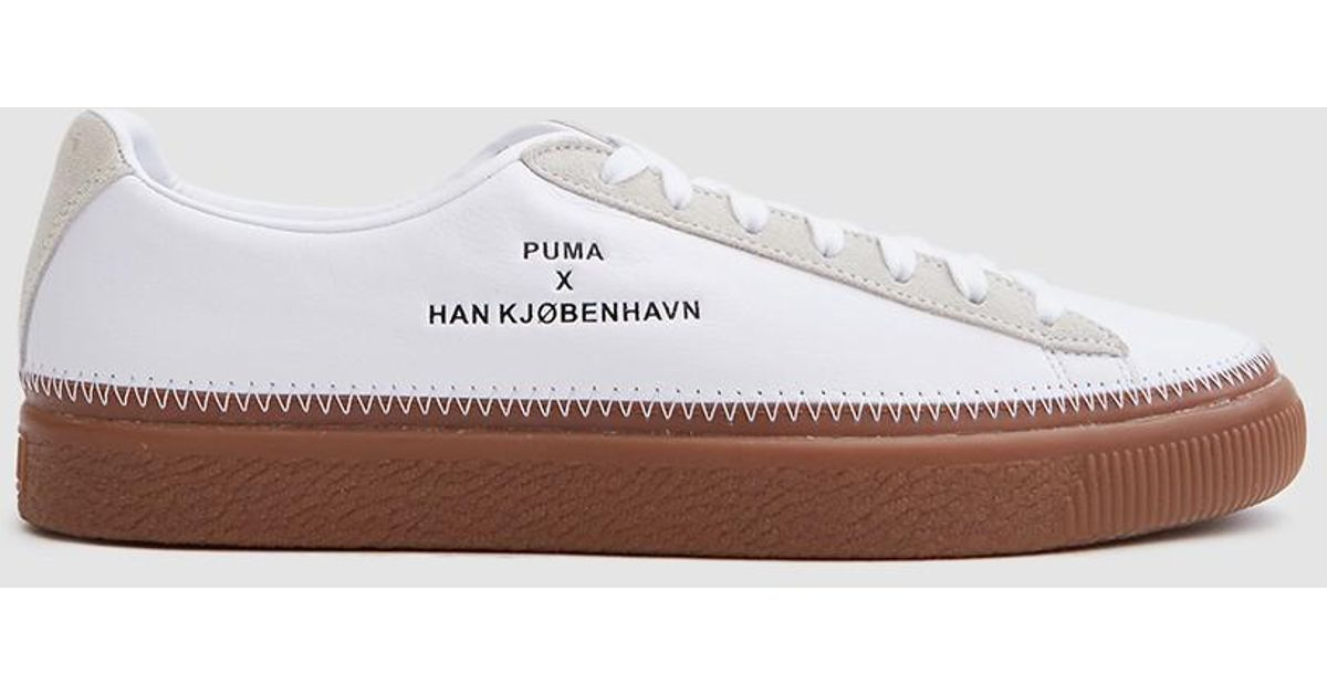 f96e6661a8a Lyst - PUMA Basket Stitched Han In White gum in White for Men