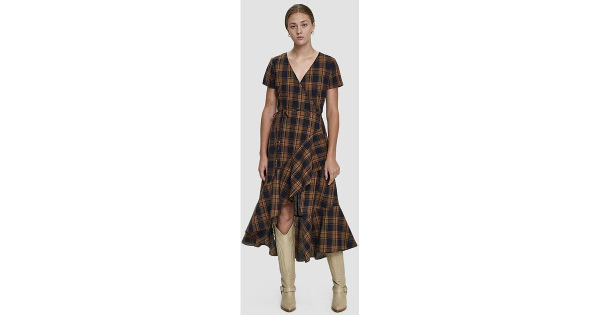 891b89682a44 Stelen Maxine Plaid Tiered Wrap Dress in Brown - Lyst