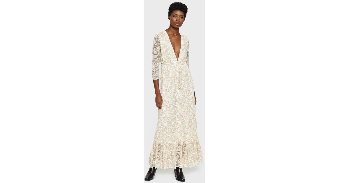 9382ef8e Ganni Flynn Lace Maxi Dress in Natural - Lyst