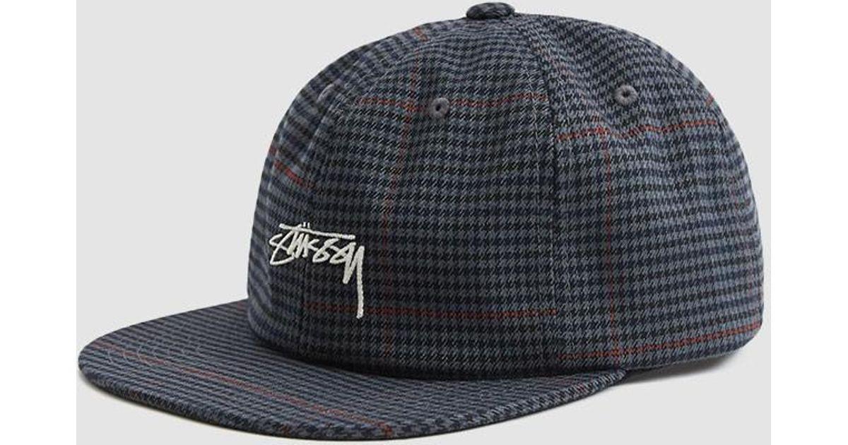 c1fa7d2aba761f Stussy Small Check Strapback Cap in Gray for Men - Lyst