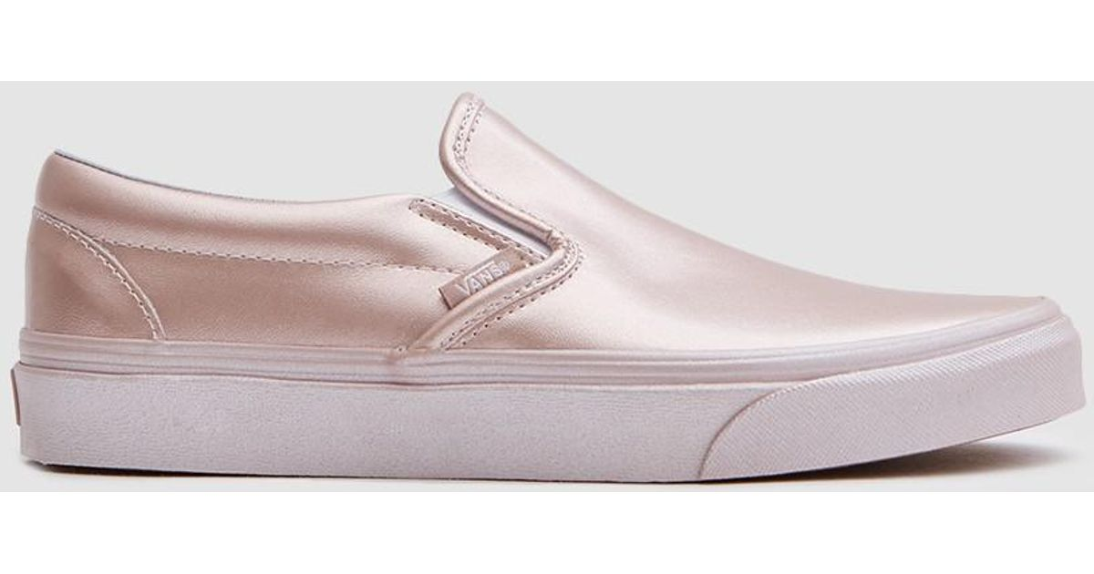 5e08ebb35d Lyst - Vans Classic Slip On In Metallic Rose Gold in Pink
