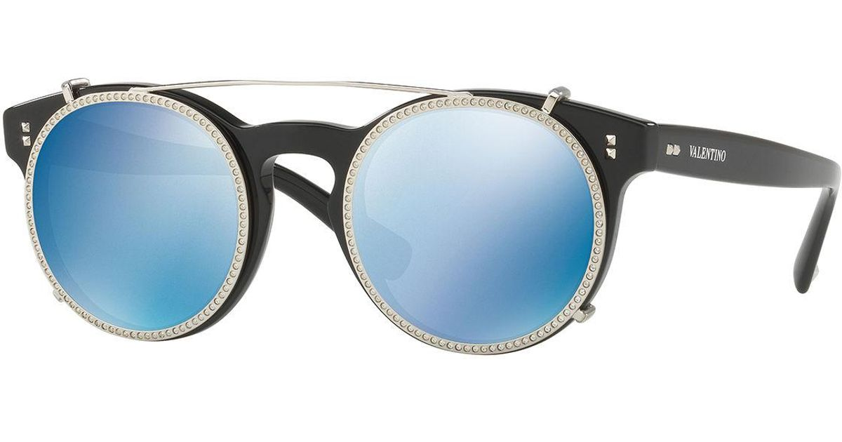 Lyst - Valentino Round Crystal-rim Sunglasses in Black