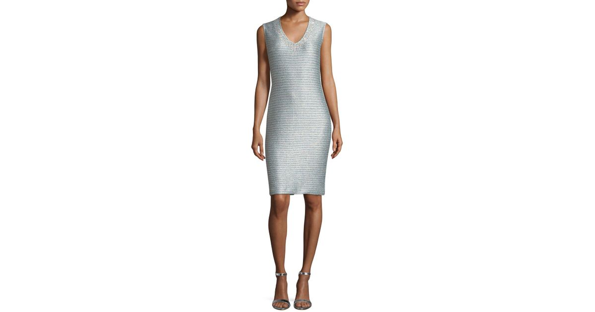 bf607ec16c St. John Gleam Metallic Knit V-neck Cocktail Dress in Metallic - Lyst
