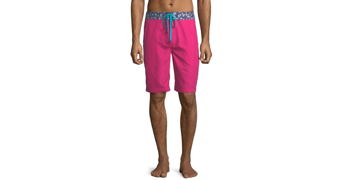 64c3ce976b Robert Graham Dos Rios Graphic-trim Swim Trunks With Wet/dry Color-change  Effect in Red for Men - Lyst