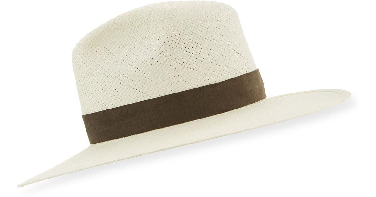 184b030335c68 Lyst - Janessa Leone Marcell Packable Straw Fedora Hat
