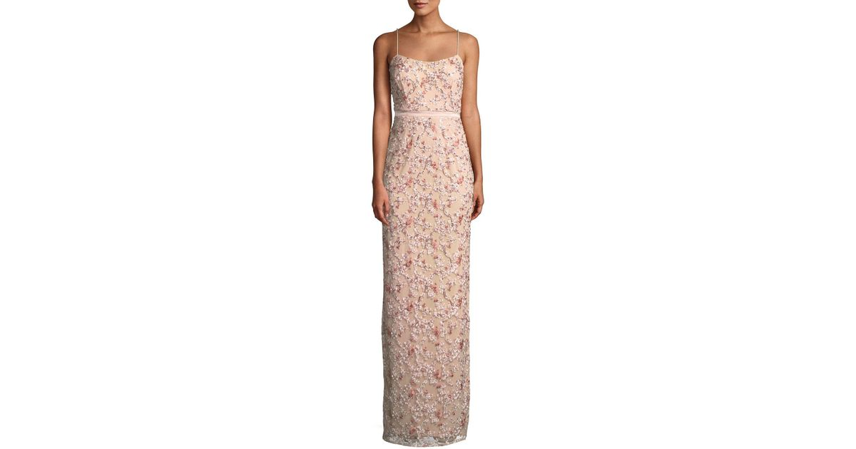 76416f3125e Lyst - Aidan Mattox Floral Embroidered Gown W  Beading