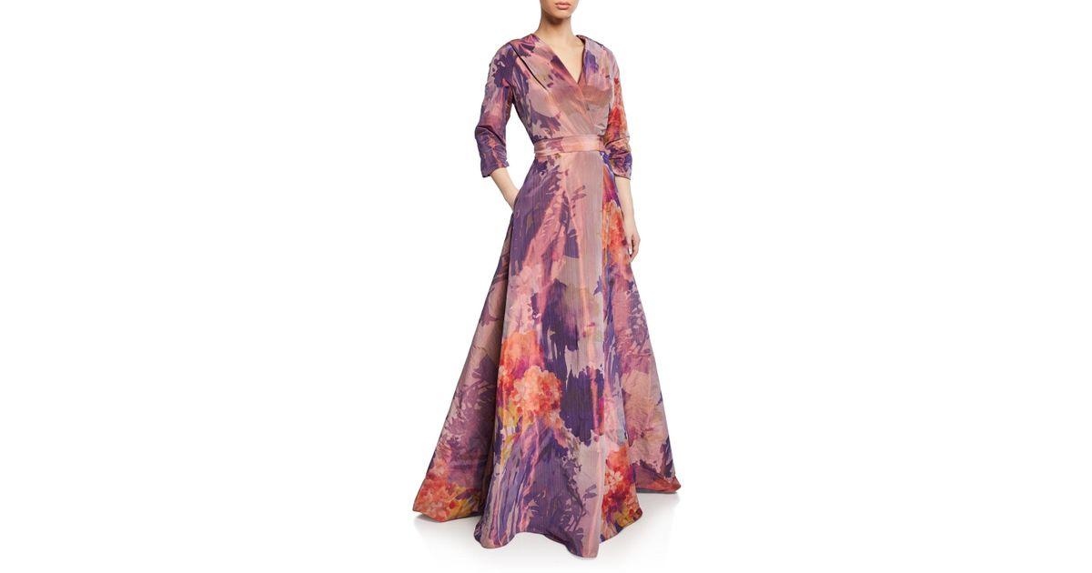 0c34306b8b3 Rene Ruiz Floral Mikado 3 4-sleeve Mock-wrap Gown in Pink - Lyst