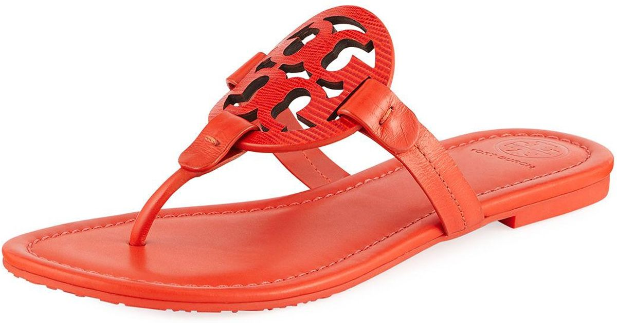 838c083458b3c5 Lyst - Tory Burch Miller Logo Flat Leather Sandals in Red