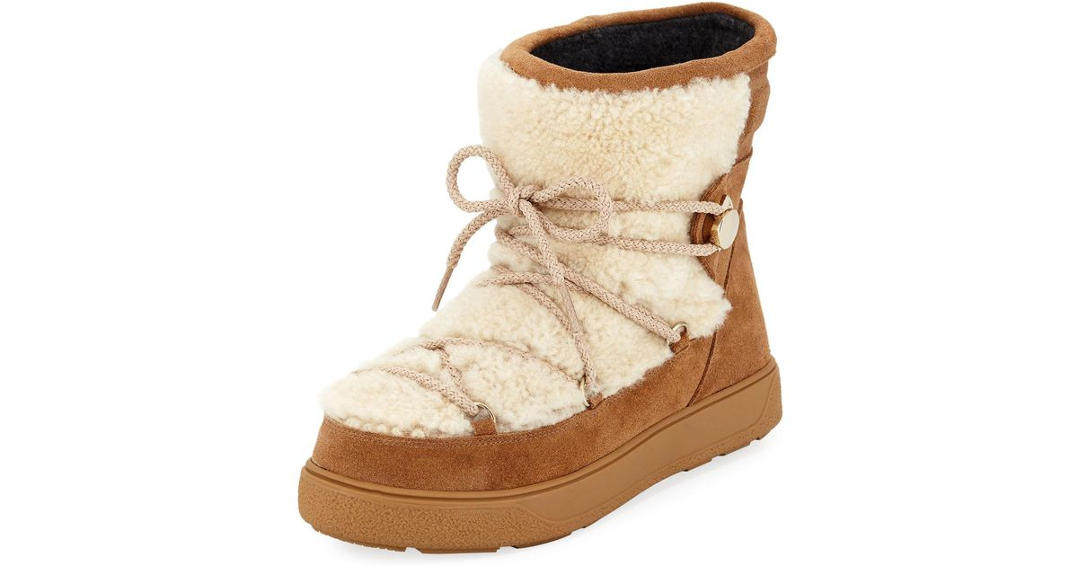large discount top-rated original how to get Moncler Natural New Fanny Lace-up Shearling Fur Snow Boot