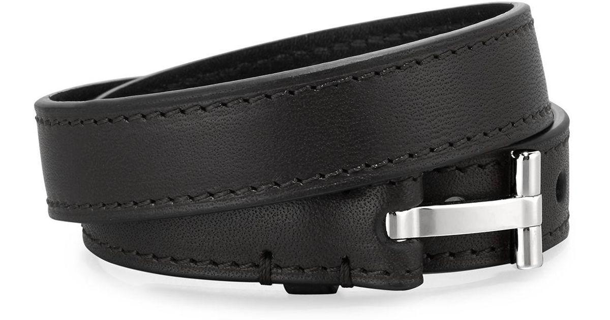 ccde6f122 Tom Ford Men's Double-wrap Leather T-buckle Bracelet in Black for Men - Lyst