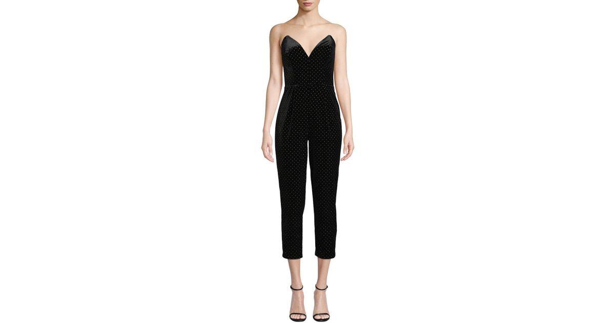 00b9f0024a66 Lyst - Amanda Uprichard Viv Strapless Velvet Cropped Jumpsuit in Black