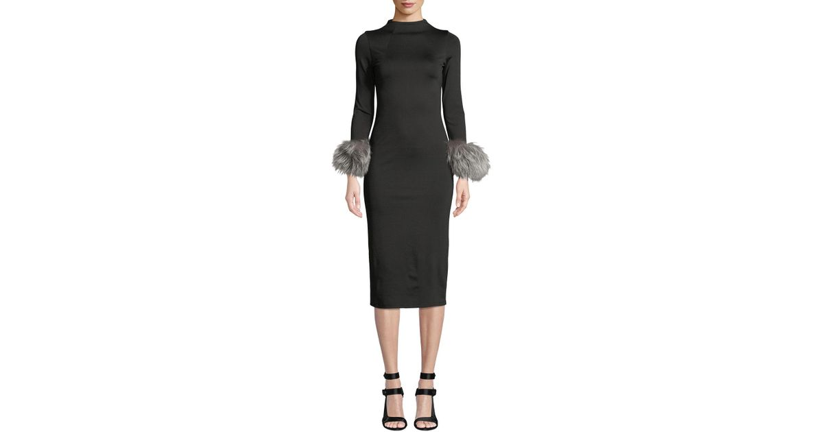 Lyst - Alice + Olivia Delora Fur-cuff Fitted Mock-neck Dress in Black 982d12bcb