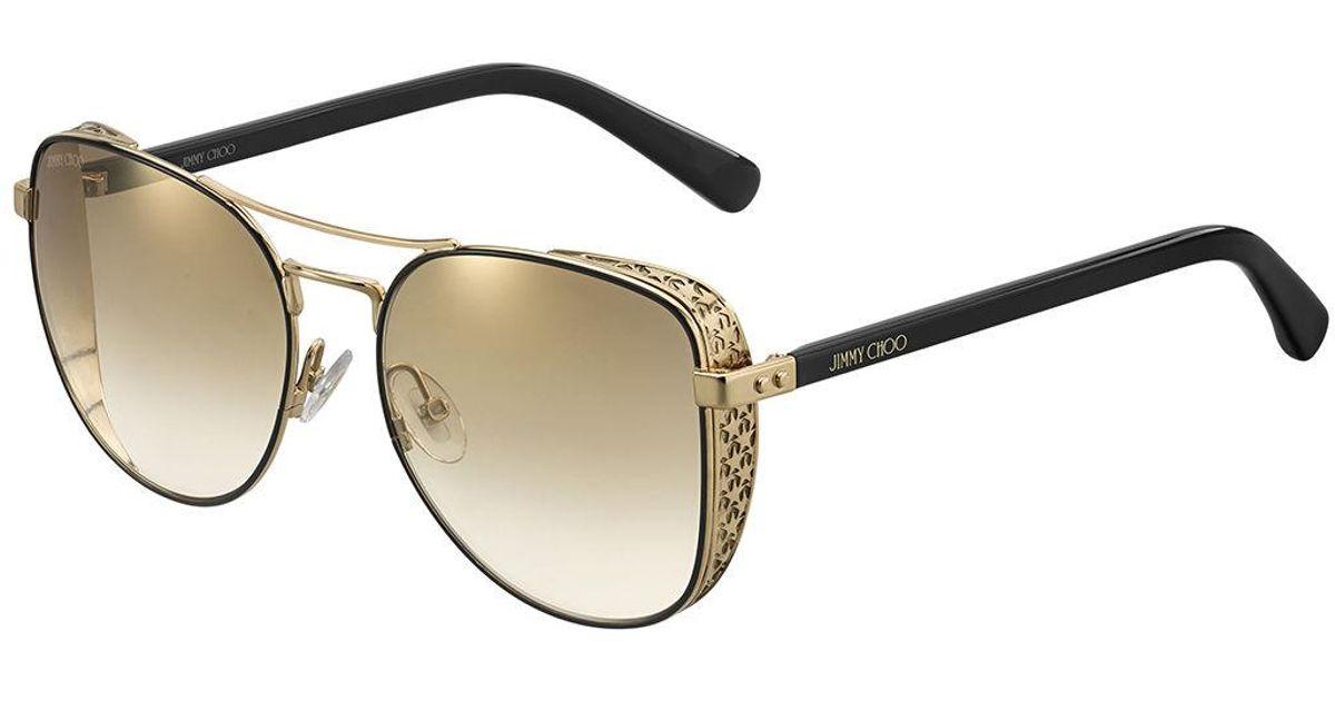 2a63d82dc4 Lyst - Jimmy Choo Sheenas Round Mirrored Sunglasses W  Star Side Blinders  in Metallic