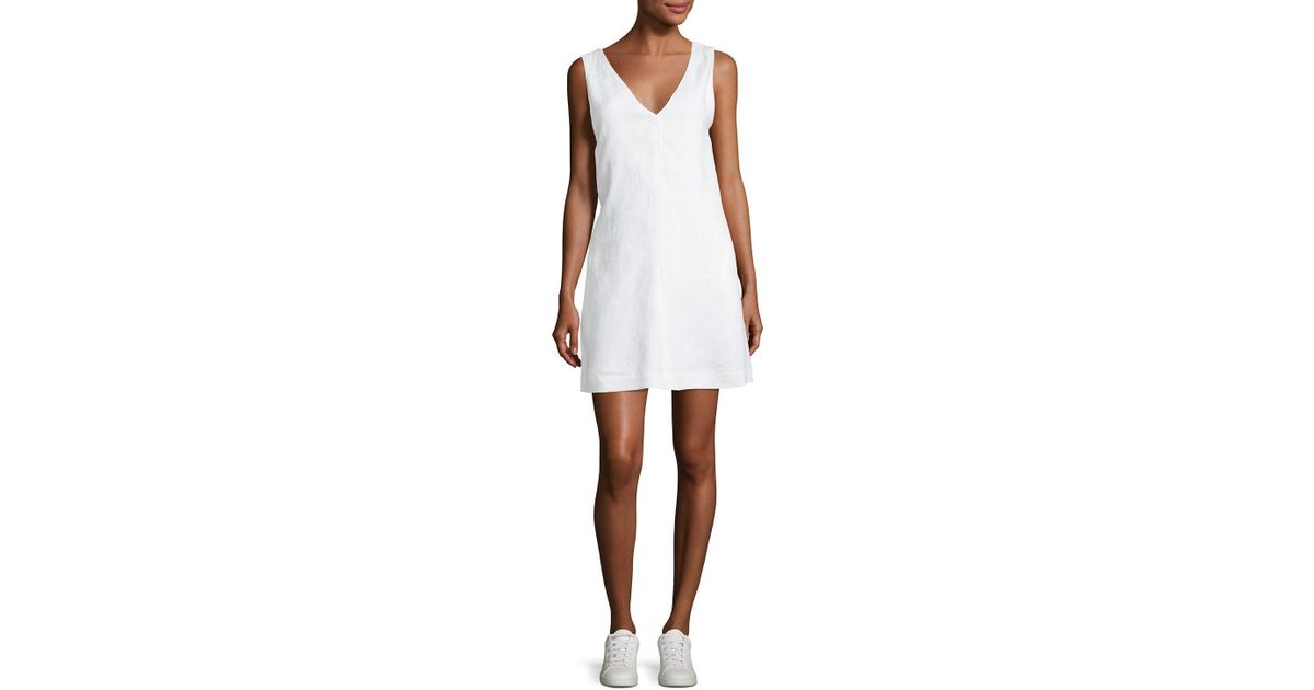 32bc621b4d Lyst - Theory V-neck Sleeveless A-line Integrate Linen Dress in White