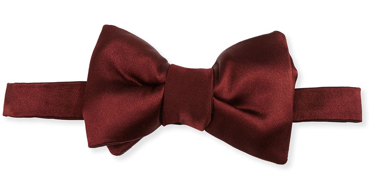 tom ford solid satin bow tie in for lyst