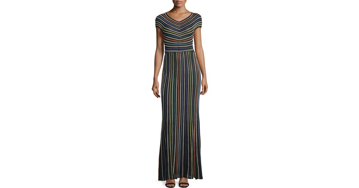 66f019a8d83c Lyst - M Missoni Short-sleeve Micro-striped Maxi Dress in Black