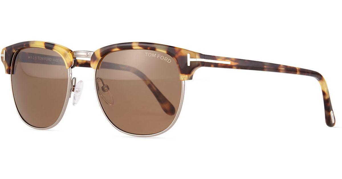 tom ford henry shiny half rim sunglasses in brown silver. Black Bedroom Furniture Sets. Home Design Ideas