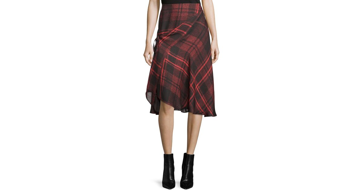d1a13bbcd Lyst - McQ Tied Tartan Plaid Skirt in Red