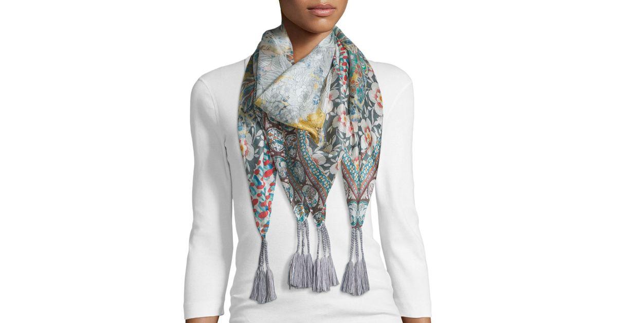 johnny was monika printed silk scarf lyst