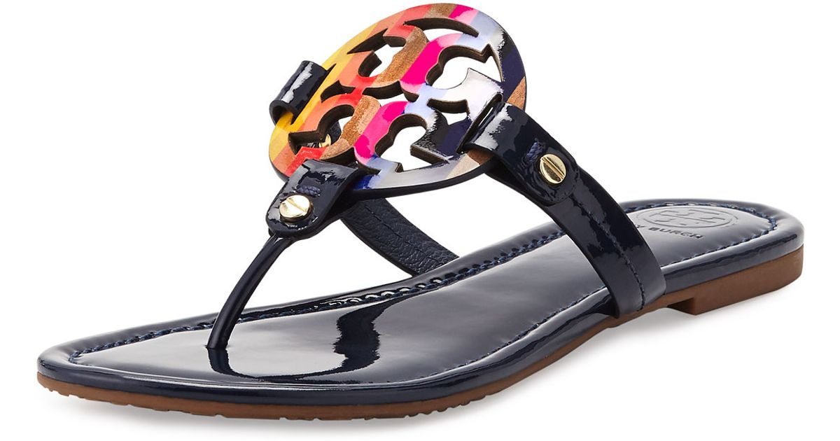 839eb47cfb20 Lyst - Tory Burch Miller Rainbow Patent-Leather Logo Sandals in Black