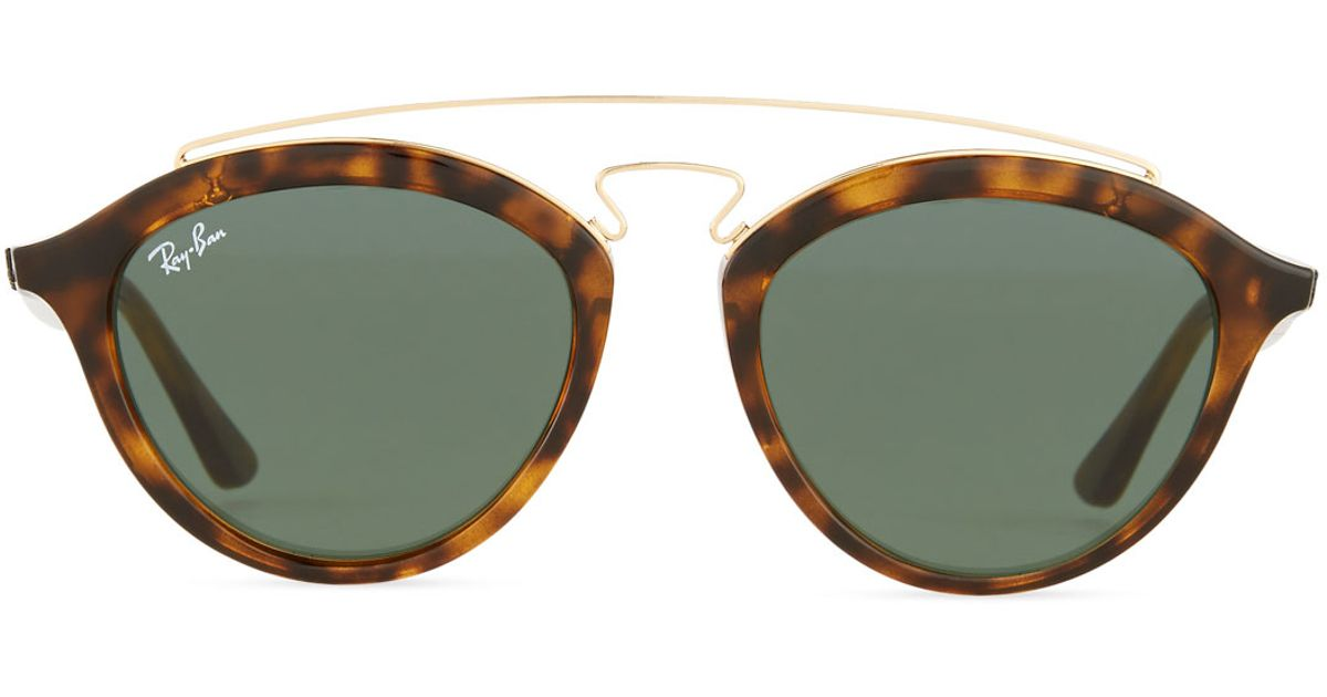 ray ban round double bridge acetate sunglasses w solid lenses in brown black lyst. Black Bedroom Furniture Sets. Home Design Ideas