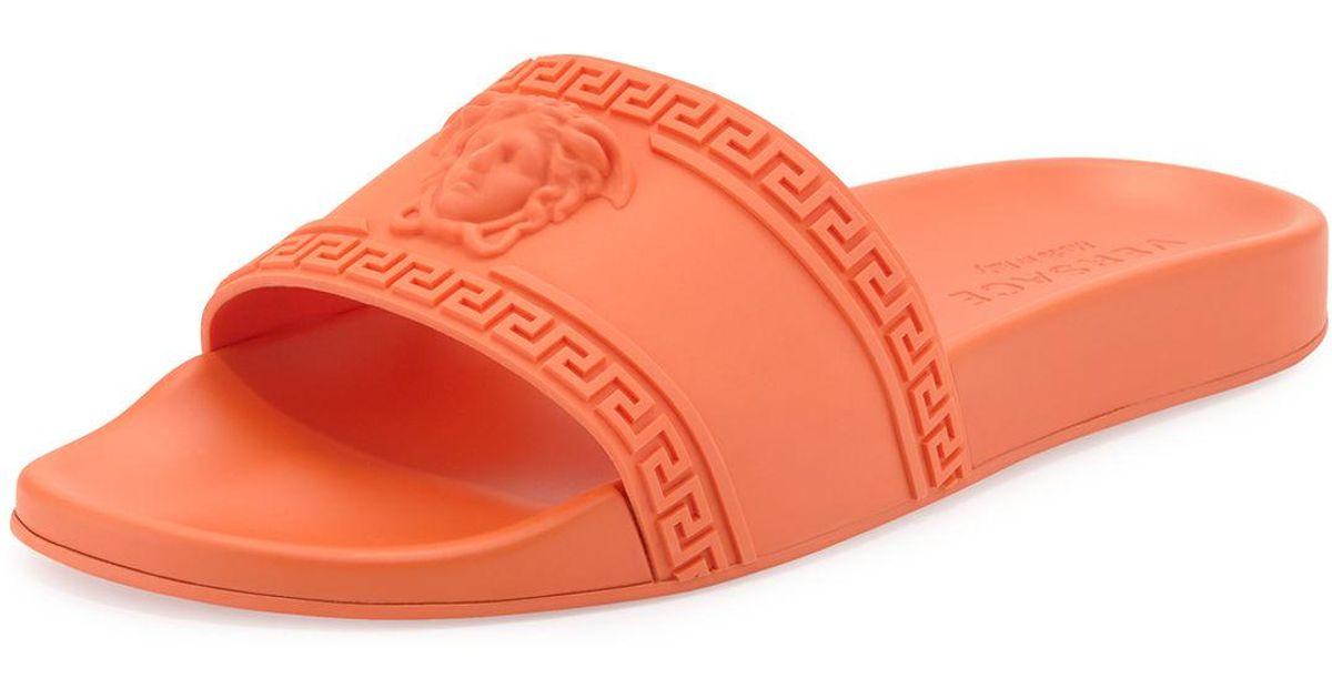 2551caad1 Lyst - Versace Men s Medusa   Greek Key Shower Slide Sandal in Orange for  Men