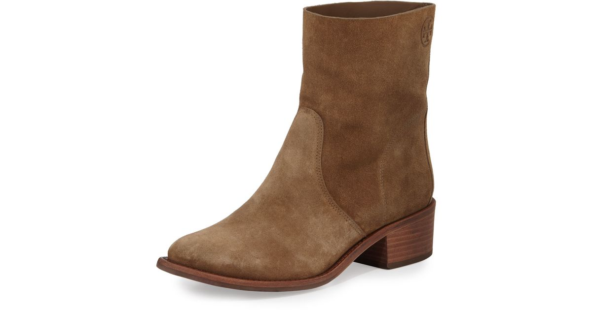 a7f2fe45989d Lyst - Tory Burch Siena Suede Ankle Boots in Brown