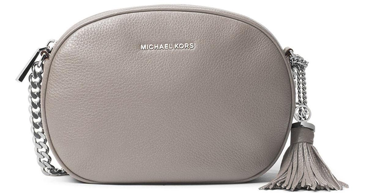 29e8a34d6559 Lyst - MICHAEL Michael Kors Ginny Medium Leather Messenger Bag in Gray